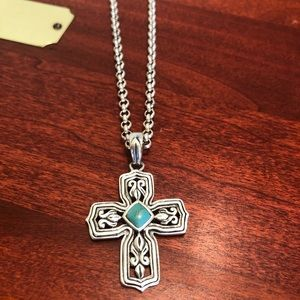 Barse Sterling Turquoise Cross Pendant Necklace